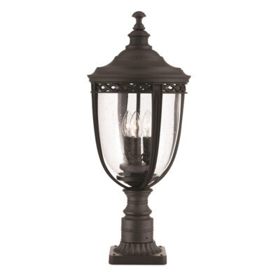 French Traditional Outdoor Pedestal Light Black
