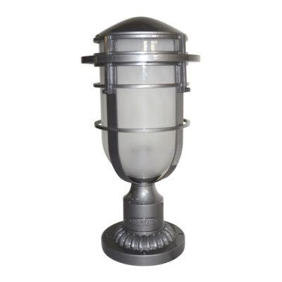 Classic French Outdoor Pedestal Light Hematite