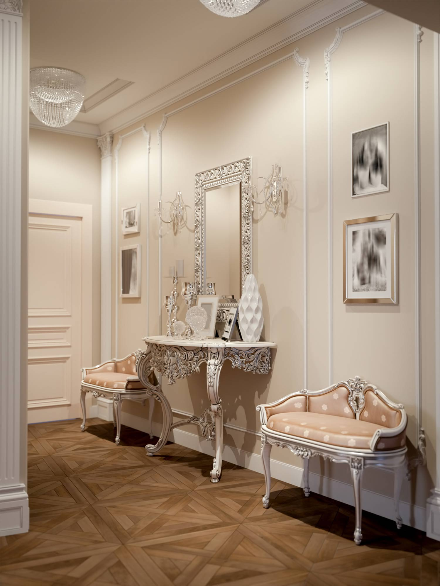 10 French interior designed hallway with wall panelling and hall tables