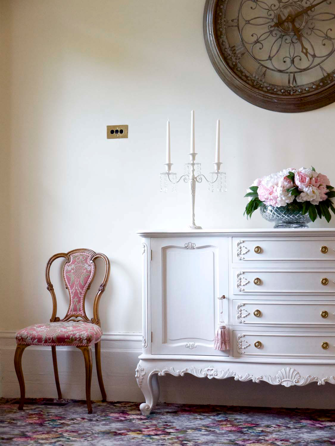 16 French antique white and colour contrast trim painted furniture