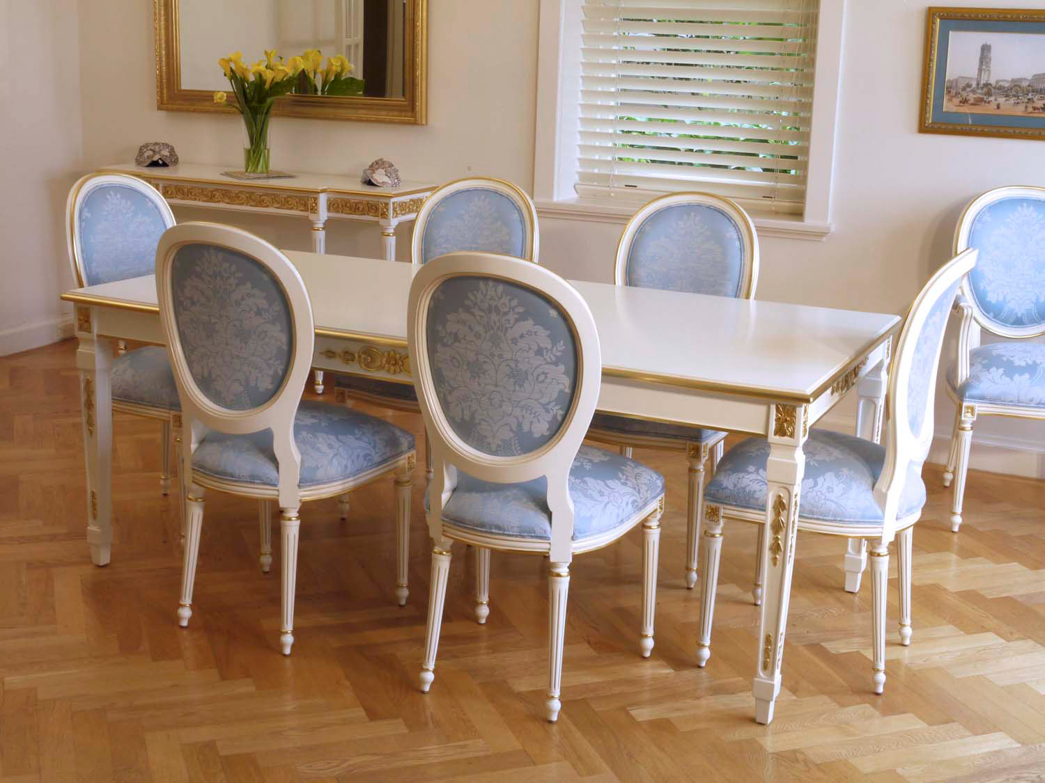 3 French dining with withe Louis XVI furniture and gilding finishes