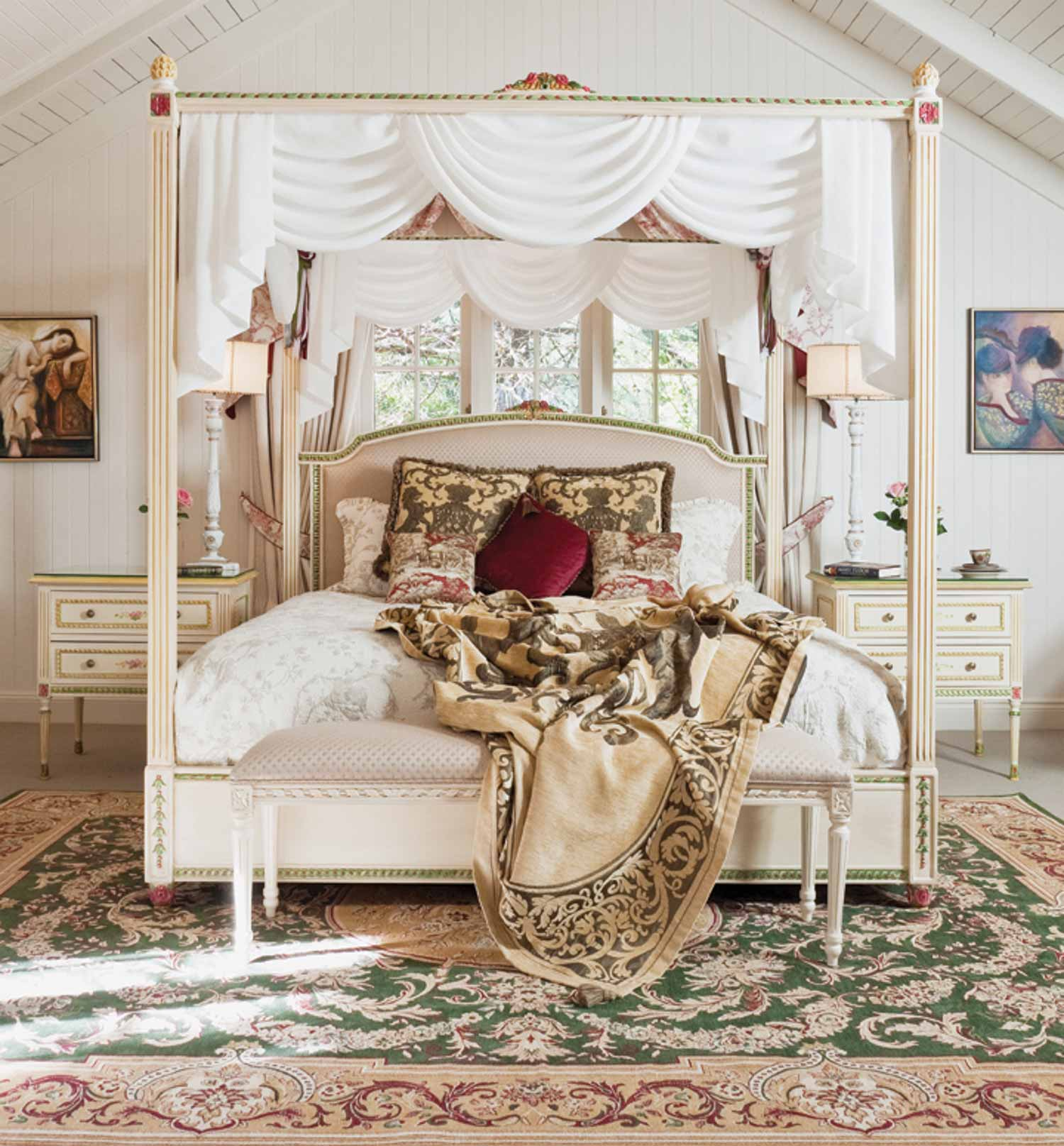 6 French four poster bed, bed end stool and bedside tables in painted finish with rug