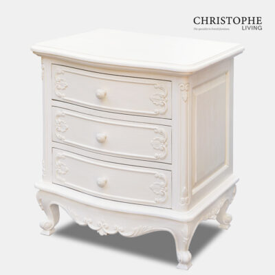 White painted French bedside table in Louis XV style with carved drawers and cabriole legs for French style bedroom
