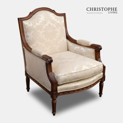French carved walnut Louis style timber French armchair with satin cream damask fabric and French style legs.