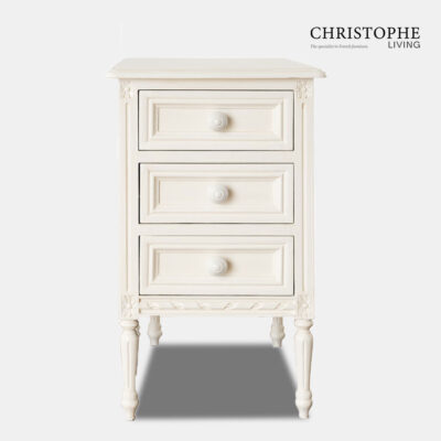 French reproduction bedside table in antique white with tapered Louis XVI legs and carving details