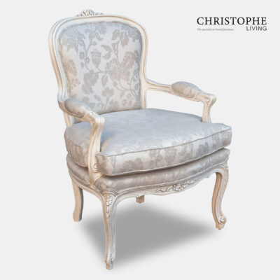 French provincial style salon chair fully upholstered with frame carved in Italy and French linen ideal for lounge or bedroom.
