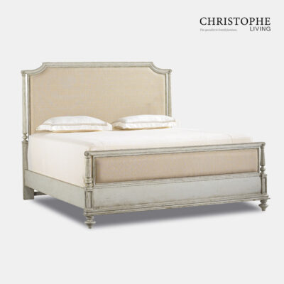 French style bed with Hamptons look in a green painted finish with antique patina