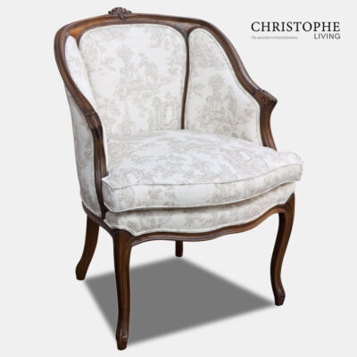 Timber French lounge chair with Louis style legs and beige and white linen fabric with comfortable fully upholstered back.