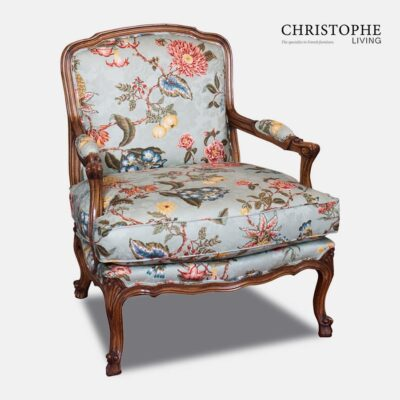 French walnut armchair in floral fabric with a gorgeous timber finish. Custom finished to suit the colours and style of the interior and loungeroom.