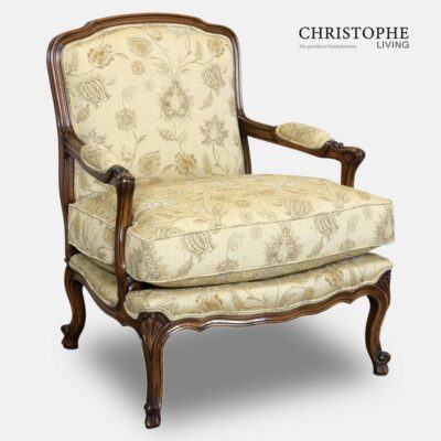 Golden damask fabric on timber finish chair in French style with walnut timber colour and made from European beech.