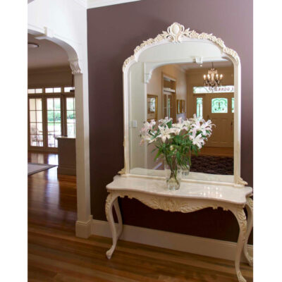 French Provincial White Hall Table