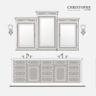 French Hamptons custom design with Louis 15 style features, bathroom vanity design