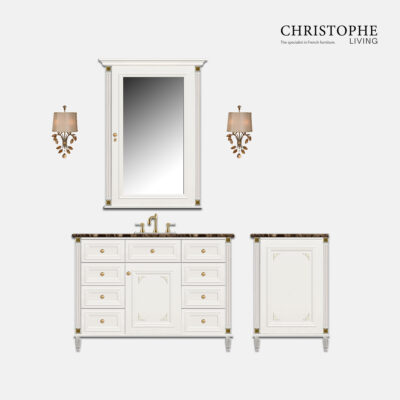 Hamptons vanity custom designed in sydney, with french style features, in hand finish